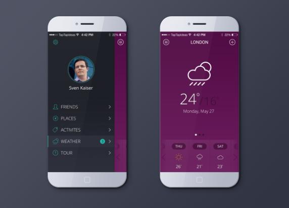 天气预报App应用设计psd模板