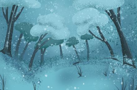 卡通树木雪景PSD素材