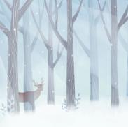 雪天树木绘画PSD素材