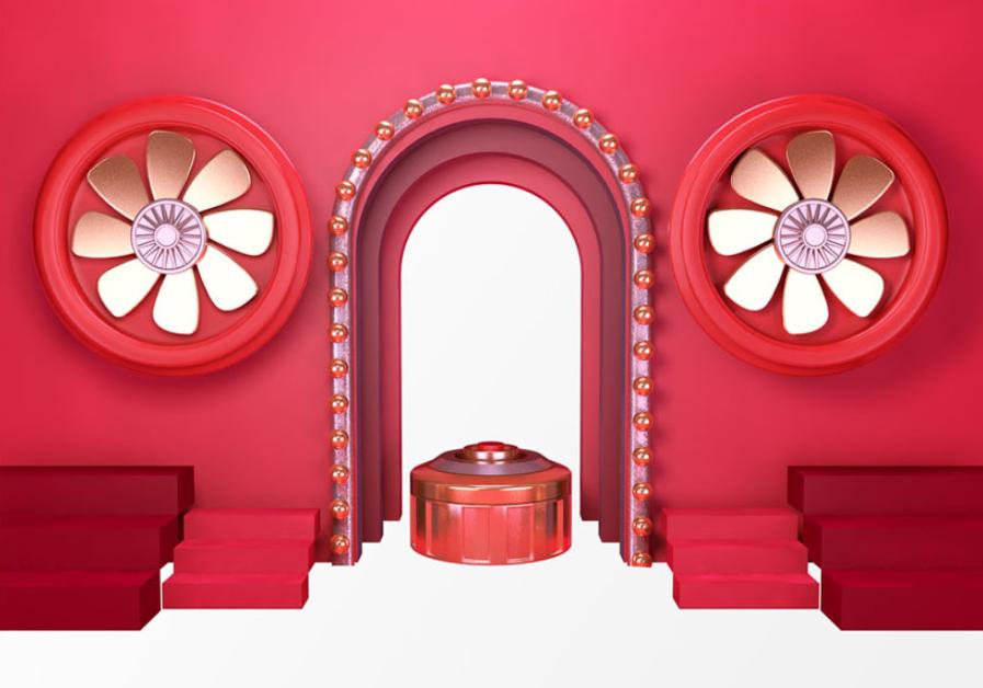 红色大门装饰PSD素材截图0