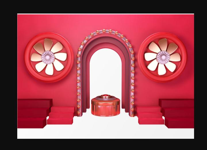 红色大门装饰PSD素材截图1