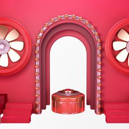 红色大门装饰PSD素材