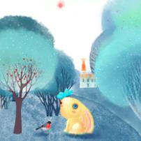 小动物梦幻绘画PSD素材