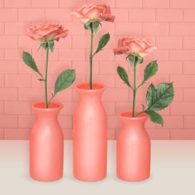 粉色玫瑰花瓶展示PSD素材