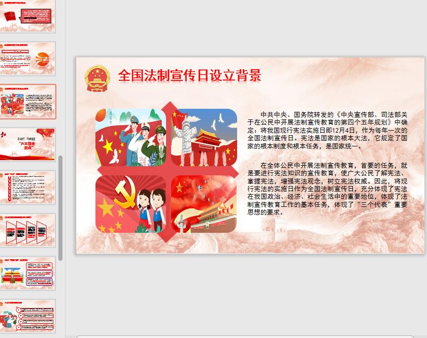 国家宪法日暨全国法制宣传日ppt模板免费版截图3