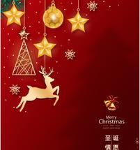 2020红色简约圣诞小鹿圣诞节海报