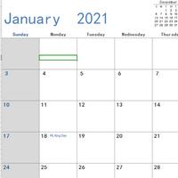2021日历excel分月可打印版