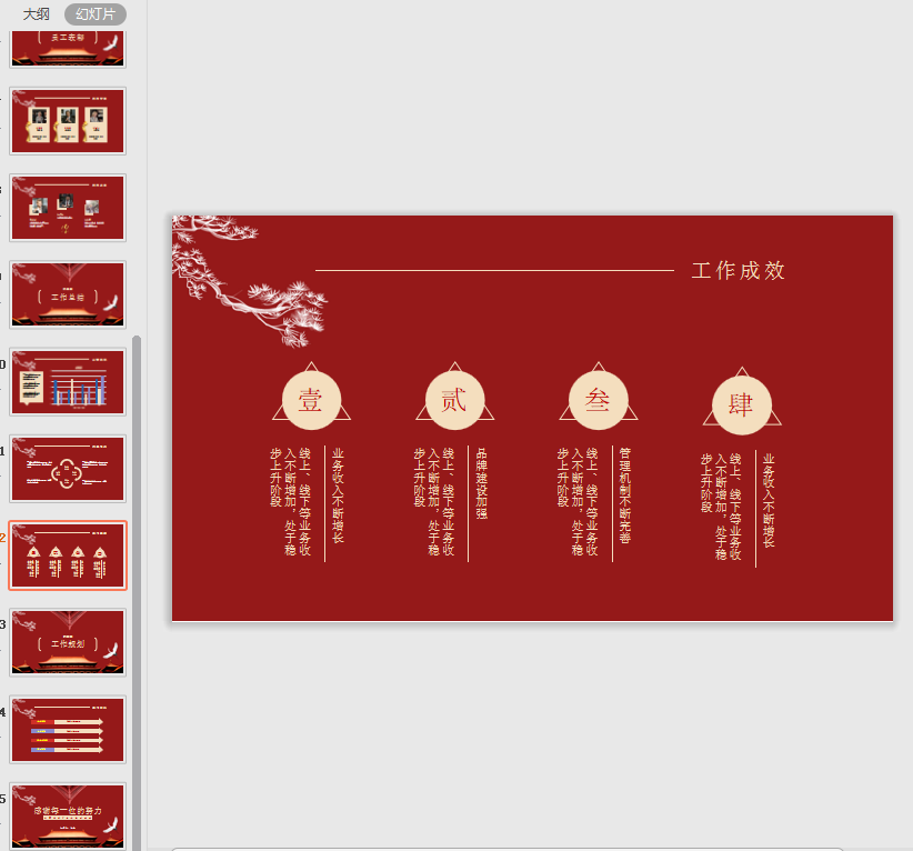 中国风工作总结颁奖典礼大红色ppt模板截图2