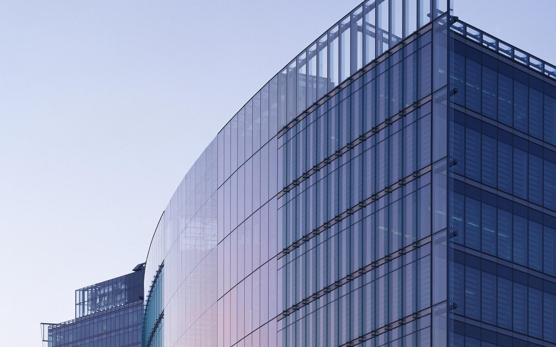 蓝色商务大厦大楼写字楼PPT背景图片截图0