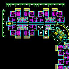 一梯多户住宅标准层建筑cad施工图纸