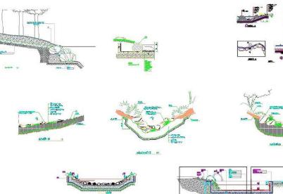 十几种园林水池驳岸做法详图CAD图纸