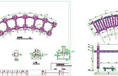 某公园弧形廊架施工图CAD图纸