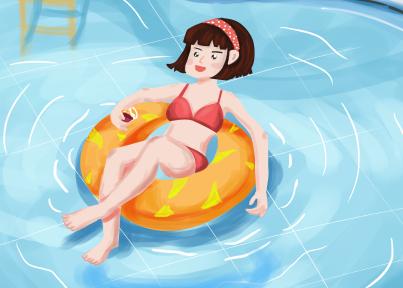 夏天游泳池女孩PSD素材