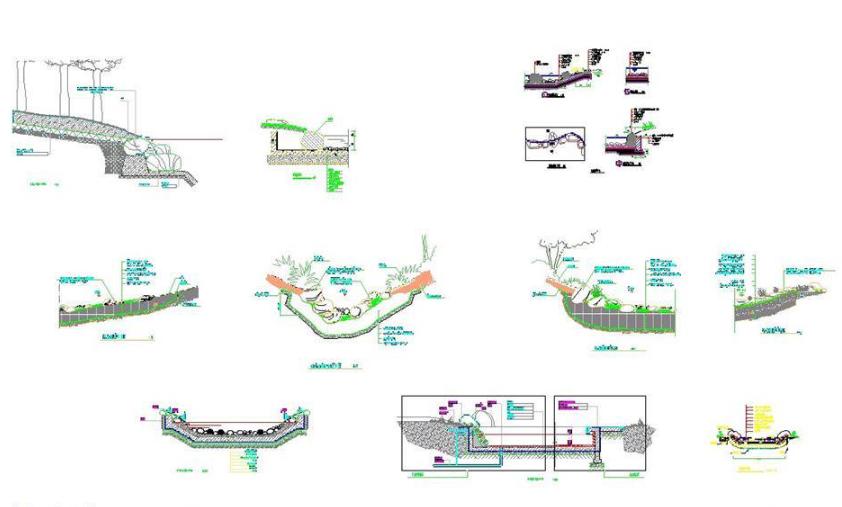 十几种园林水池驳岸做法详图CAD图纸截图0