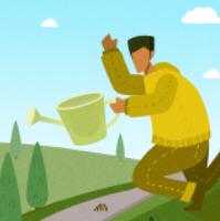 浇水男生森林插画PSD素材