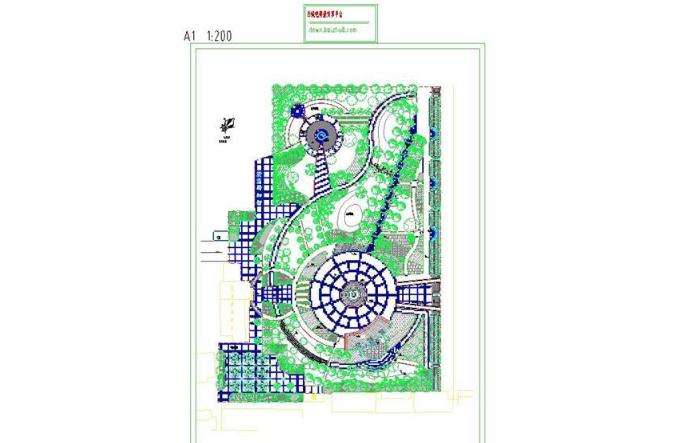 城市公园绿化总平面图CAD图纸截图0