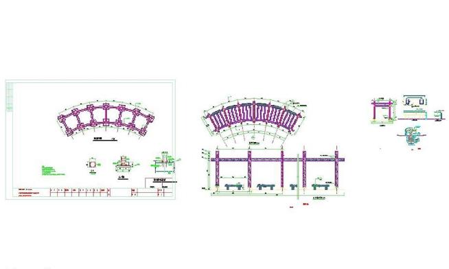 某公园弧形廊架施工图CAD图纸截图0