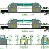 学校大门建筑设计方案及cad平立剖