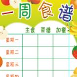 学校一周食谱菜单表格psd素材