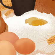 女孩与早餐插画PSD素材