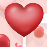 爱心气球背景PSD素材
