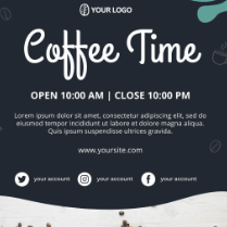 咖啡时光英文海报psd模板