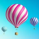 卡通彩虹森林热气球PPT背景