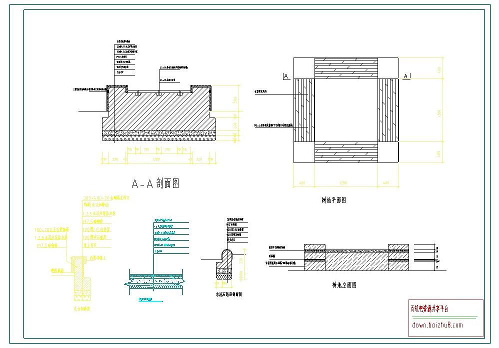 树池平立面详图CAD图纸截图0