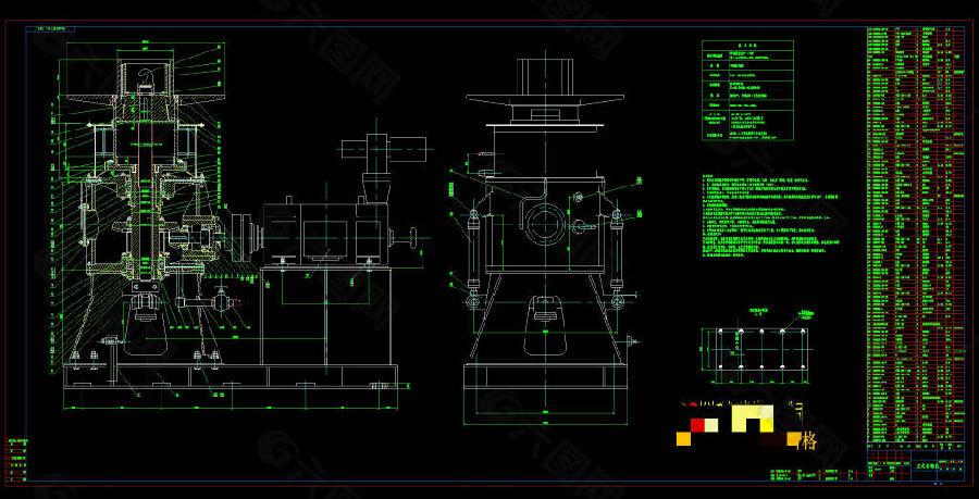 立式卷取机CAD机械图纸
