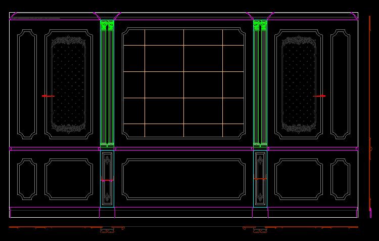 整木家居卧室背景墙CAD图纸图库截图1