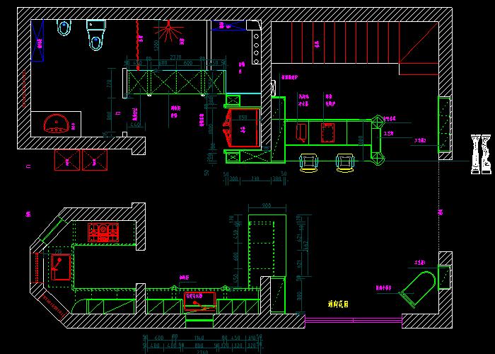 家庭餐厅厨房CAD设计平面立面图库截图0