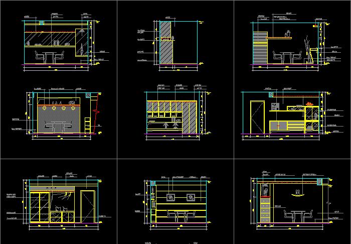 家庭餐厅厨房CAD设计平面立面图库截图1