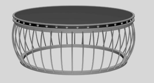 创意圆形茶几桌3D模型截图0