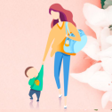 简约橙色卡通感恩母亲节PPT模板