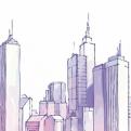 淡雅紫色水彩手绘城市PPT模板